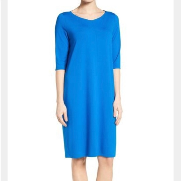2656ffc813622 Eileen Fisher Dresses   34 Sleeve Vneck Jersey Shift Dress   Poshmark